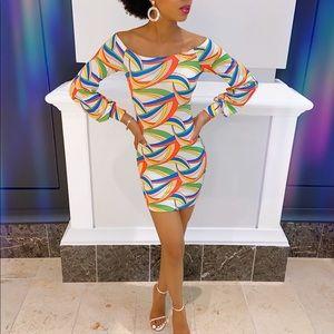 XS Off Shoulder Colorful Mini Dress